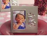 Silver Teddy Bear Frame with Pink Crystals
