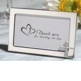 Cross accented Metal photo frame favor