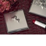 Silver Compact Mirror with Embossed Double Hearts