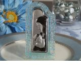 Murano Art Deco Blue Pebble Curved Arch Design Glass Icon
