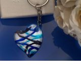 Murano Art Deco Blue and Silver Heart Design Keychain