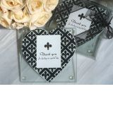 Classic Heart Design Fleur De Lis Photo Coaster