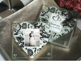 A Classic Heart Damask Pattern Photo Coaster