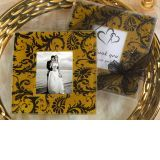A Classic Damask Gold and Black Design Photo Coaster