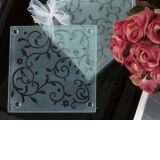 Frosted Elegance Damask Design Coaster Favor