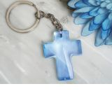 Blessed Events Blue Cross Keychain
