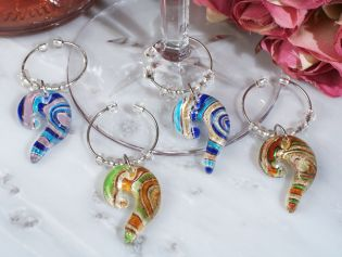 Murano Art Deco Collection Swirl Design Wine Charms