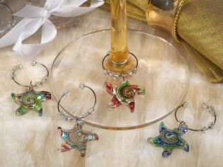 Murano Art Deco Collection Starfish Design Wine Charms