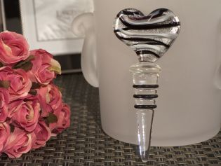 Murano Art Deco Heart Stopper (Silver and Black)