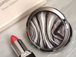 Murano Art Deco Round Compact Mirror (Silver and Burgundy Glass)