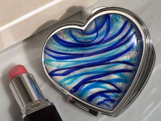 Murano Art Deco Heart Compact Mirror Silver and Blue Colored Glass