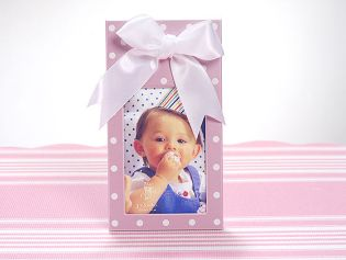 2x3 Pink Frame with Dots and White Satin Bow