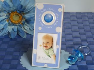 Blue and White Dot Photo Frame