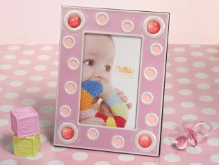 Pink 4x6 Baby Frame with Pink Glass Bead Accents