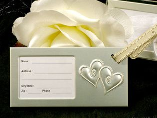 Silver Two Hearts that Beat as One Luggage Tag
