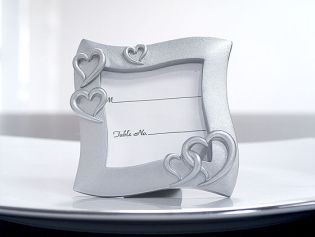 3x3 Silver Resin Place Card Frame with Hearts