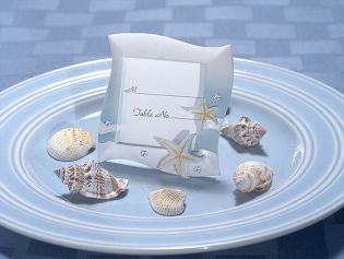 Place Card Frame Beach Theme in Blue and White
