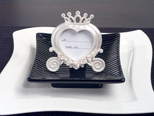 Heart Shaped Wedding Coach Place Card Frame Pearl White