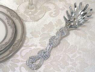 Signature Collection by Cassiani Chrome Pasta Server with Grapes Design