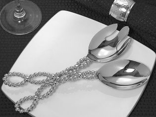 Signature Collection by Cassiani Chrome Salad Server Set with Beaded Design Handle