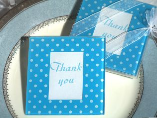 Blue and White Dot Pattern Photo Coaster