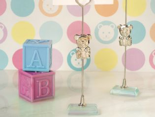 Silver Teddy Bear Place Card Holder