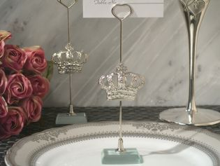 Silver Royal Crown Place Card Holder