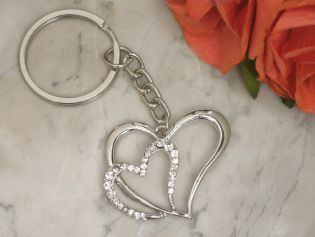 Elegant Chrome Double Heart Keychain