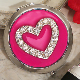 Stylish Heart Design Compact Mirror Favor