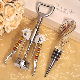 Stylish Murano Swirl Design Gold and White Bottle Stopper and Opener Set