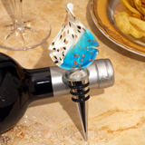 Murano Blue, White and Gold Teardrop Design Bottle Stopper