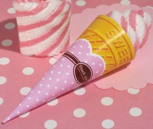Sweet Treats Collection Strawberry Swirl Ice Cream Cone Towel Favor