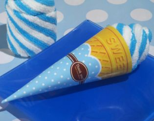 Sweet Treats Collection Blueberry Swirl Ice Cream Cone Towel Favor