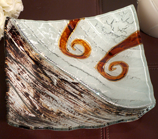 Murano Bling Silver and Amber Decorative Tray