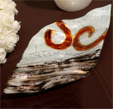 Murano Bling Silver and Amber Diamond Shape Tray