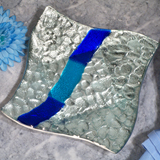 Murano Bling Silver and Blue Pebble Design Square Tray