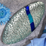 Murano Bling Silver and Blue Pebble Design Oval Tray