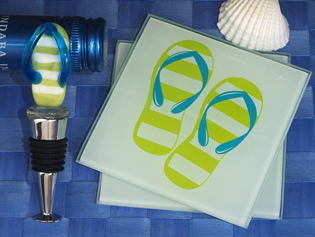 Murano Collection Flip Flop Design Coaster and Bottle Stopper Set