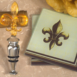 Murano Collection Fleur De Lis Design Coaster and Bottle Stopper Set
