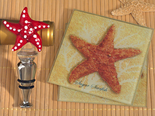 Murano Collection Starfish Design Coaster and Bottle Stopper Set
