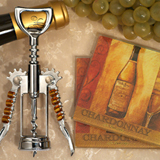 Murano Collection White Wine Design Coaster and Bottle Opener Set