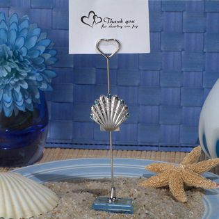 Silver Seashell Place Card Holder