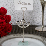 Two Hearts Become One Silver Place Card Holder