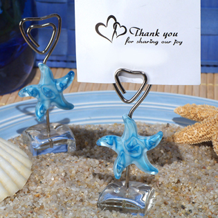 Murano Blue Glass Starfish Place Card Holder