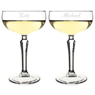 Personalized 8.25 oz. Champagne Coupe Toasting Flutes