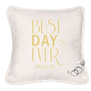Personalized Best Day Ever Ring Bearer Pillow with Heart Pin