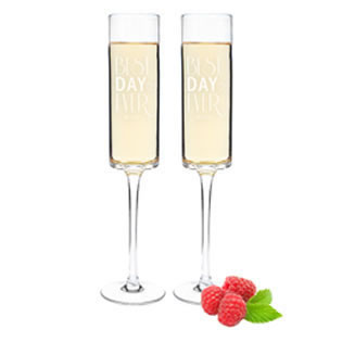 Personalized Best Day Ever 8 oz. Contemporary Champagne Flutes