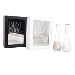 Personalized Best Day Ever Black or White Unity Sand Ceremony Shadow Box Set