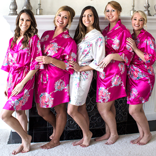 Personalized Floral Satin Robes (More Colors Available)