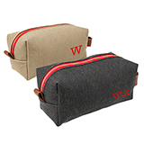 Personalized Charcoal or Tan Leather & Waxed Canvas Dopp Kit